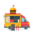 hamburgers food truck street meal vehicle fast vector image vector image