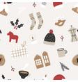 hand drawn christmas seamless pattern vector image vector image