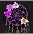 hand drawn ornate dream catcher vector image