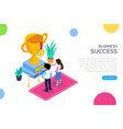 isometric business succes concept gold cup for vector image vector image