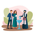 male priest is baptising a newborn child vector image