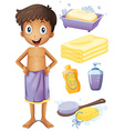Man in towel and bathroom set vector image vector image