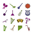 musical instrument icon set color outline style vector image vector image