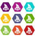 natural eggplant icons set 9 vector image vector image