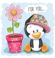 Penguin with flower vector image vector image