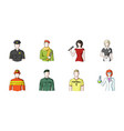 people of different professions icons in set vector image