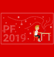 pf 2019 card red background vector image