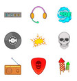 rock radio icons set cartoon style vector image vector image