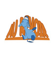 Sad donkey waving hand with French tex vector image vector image