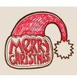 santa hat with lettering merry christmas vector image vector image