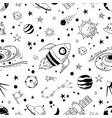 seamless doodle space pattern trendy kids cosmos vector image