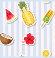 seamless pattern with fruits on striped background vector image vector image
