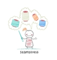 seamstress holding a needle and thinks of colored vector image vector image