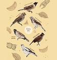 set bunting bird hand draw sketch vector image vector image