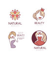 set outline logos for beauty salon or vector image