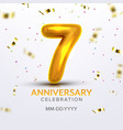 seventh anniversary birth celebrate number vector image