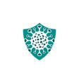 shield virus corona logo design vector image vector image