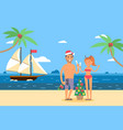 ships in bottles weekend on tropical island vector image vector image