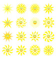 smiling sun with rays of different shapes set of vector image vector image