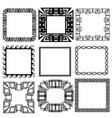 square greek key meander border frame patterns set vector image