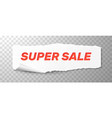 super sale red text on white torn paper vector image vector image