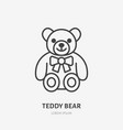 teddy bear line icon baby soft toy flat logo vector image