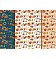 thanksgiving seamless pattern background set vector image vector image