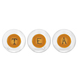 Three cups of tea with tea-leaf stilyzed as T E A vector image vector image