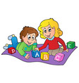 two kids playing with bricks vector image vector image