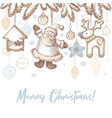 vintage postcard for christmas and new year vector image