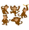 set of cute cartoon monkeys vector image