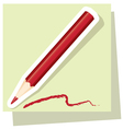 sticker of red pencil vector image