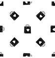 shopping bag pattern seamless black vector image