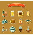 Beer sticker icon and objects set for design vector image