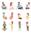 family members cartoon style set vector image
