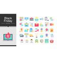 black friday icons flat design icon set vector image