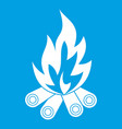 bonfire icon white vector image vector image