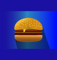 burger logo icon on a blue background vector image vector image