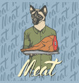 cat with meat ham vector image vector image