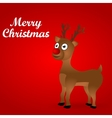 Cheerful cartoon reindeer on a red background vector image vector image