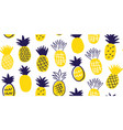 colorful minimalistic pineapples pattern vector image vector image