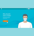 concept young man with medical mask vector image
