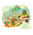 cute girl reading book to wild animals vector image vector image