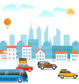 Different vehicles on a road Vacation traffic vector image vector image