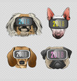 dog wearing virtual reality glasses vector image
