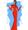 fashion sketch with girl in red dress vector image