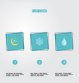 flat icons night water winter snow and other vector image vector image