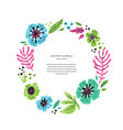 floral flat round frame template with text space vector image vector image
