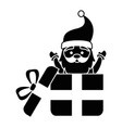 giftbox with cute santa claus character vector image