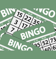 Green bingo cards background vector image